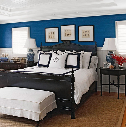 Royal Blue And Black Bedroom