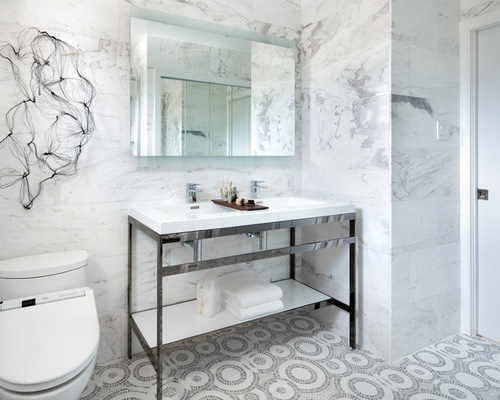 Marble walls contemporary bathroom