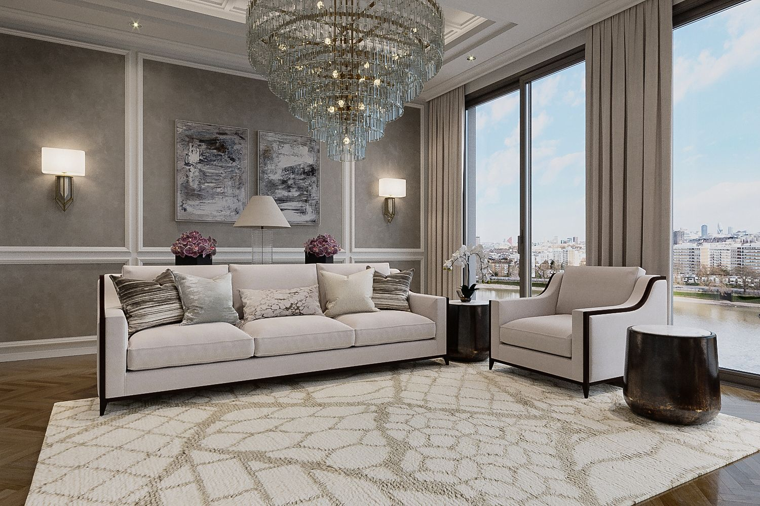 home interior with neutral grey and white rug accents
