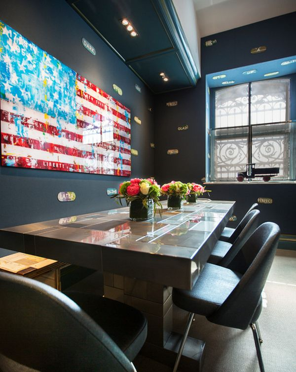 Brilliant dining space incorporating the American flag
