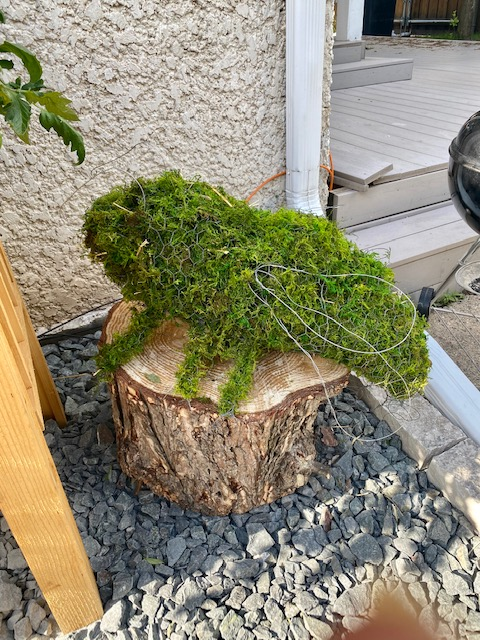 Moss covered chicken wire sculpture
