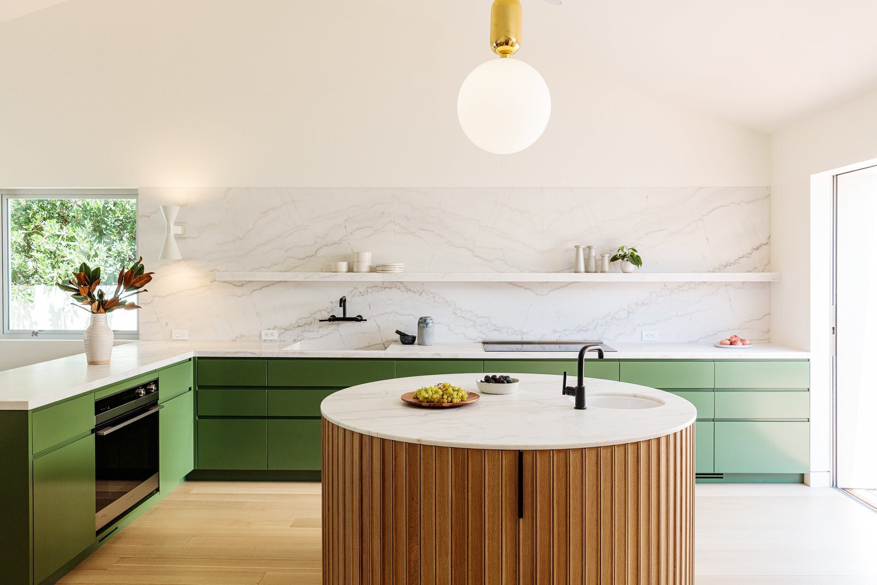 Kitchen cabinets painted with natural green