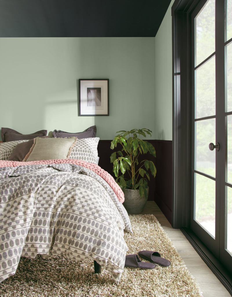 Dusty pale green paint colors in a master bedroom